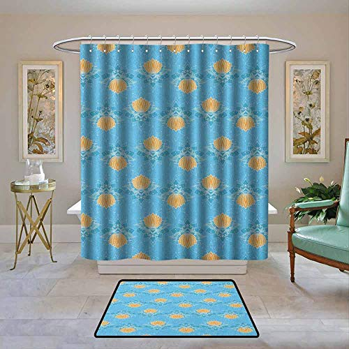 Waterproof Fabric Shower Curtain Lotus,Japanese Zen Themed Blooming Floral Design with Geometric Lines and Dots, Marigold Blue White,Machine Washable - Shower Hooks are Included 62