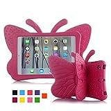 iPad case for kids, Feitenn 3D Cartoon Butterfly Non-toxic EVA Light weight Kid Proof Shockproof case with Kickstand for ipad 5/ ipad 6 /ipad pro 9.7/ New iPad 2017 case (Rose)