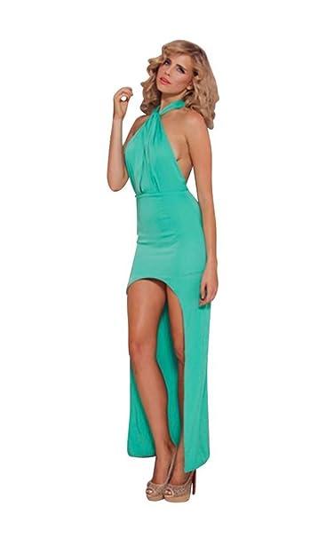 premium selection 8f7c9 438b8 Mela Proibita Sexy abito donna VERDE ROSSO lungo gambe nude aderente spalle  nude elegante sera