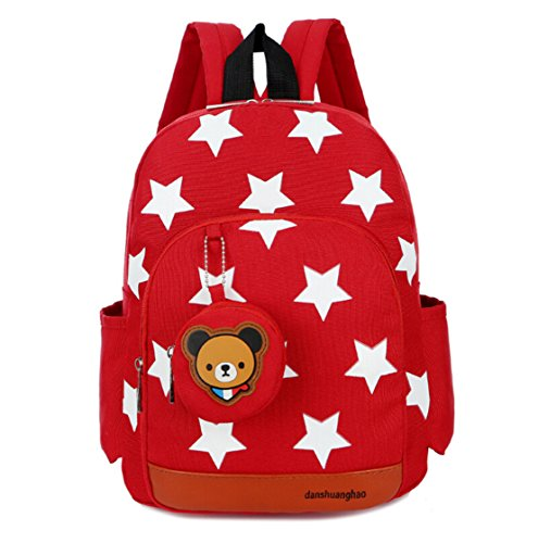 The Pooh Monitor Baby Winnie (LmeiKK Kindergarten Cartoon little stars Backpack Oxford cloth Snacks Storage bags (Red))