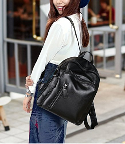 Backpack Men's Laidaye Travel Black Shoulder Leisure Bag Pu ZSw5BwYq1