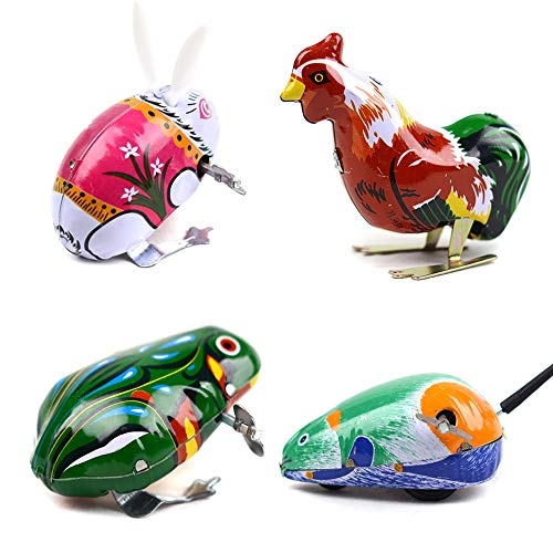 Kansoo 4 Pack Wind-Up Funny Dark & Green Clockwork Spring Wind Up Metal Jumping Frog,Rabbit, Mouse, Cock Toy Gift Kids Children