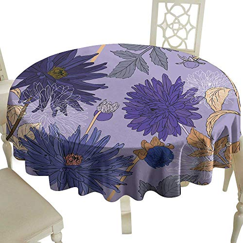 WinfreyDecor Restaurant Tablecloth Seamless Pattern with Bouquets of Beautiful Flowers of Garden Asters for Kitchen Dinning Tabletop Decoration D43