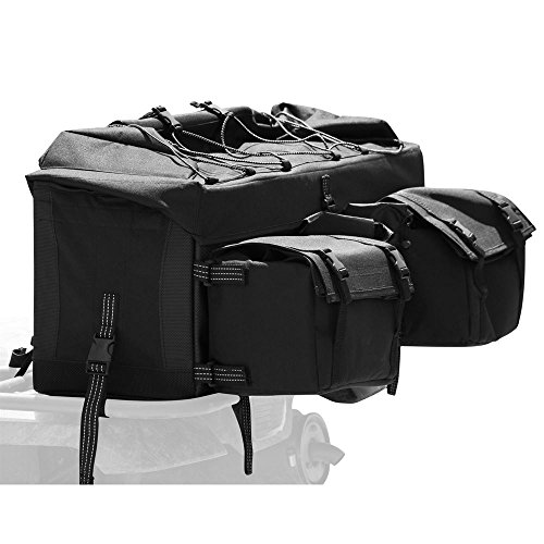 Rage Powersports ATV-RBG-9030-BK Black ATV Cargo Rack Gear Bag with Topside Bungee Tie-Down Storage (Rear) - Rear Black Rack Bag