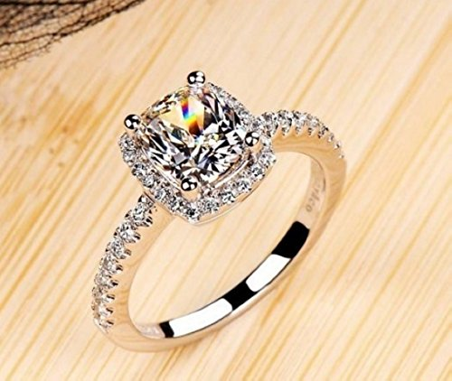 18k White Gold Gp Austria Swarovski Crystal Lady Bridal Marriage Ring Jewelry Gift R24a (7) (18k White Gold Ladies Ring)