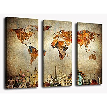 Amazoncom Wall Art World Map Canvas Art Vintage Map Of The World - 3 piece world map wall art