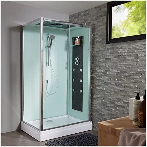 Cabina de ducha integral rectangular, 80 x 120 cm.: Amazon.es: Hogar