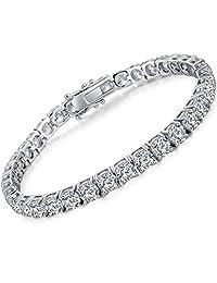 ZowBinBin Tennis Bracelet - Platinum-Plated Sterling Silver Cubic Zirconia Tennis Bracelet,Sparkling Classic CZ Tennis Bracelet for Women,Round-Cut Cubic Zirconia Tennis Bracelet