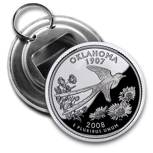 OKLAHOMA State Quarter Mint Image 2.25 inch Button Style Bottle Opener