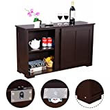 Kitchen Storage Cabinet Sideboard Buffet Cupboard Wood Sliding Door Pantry New