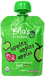 Ella's Kitchen Organic Stage 1, Apples Apples Apples, 2.5 Ounce (Pack of 6)