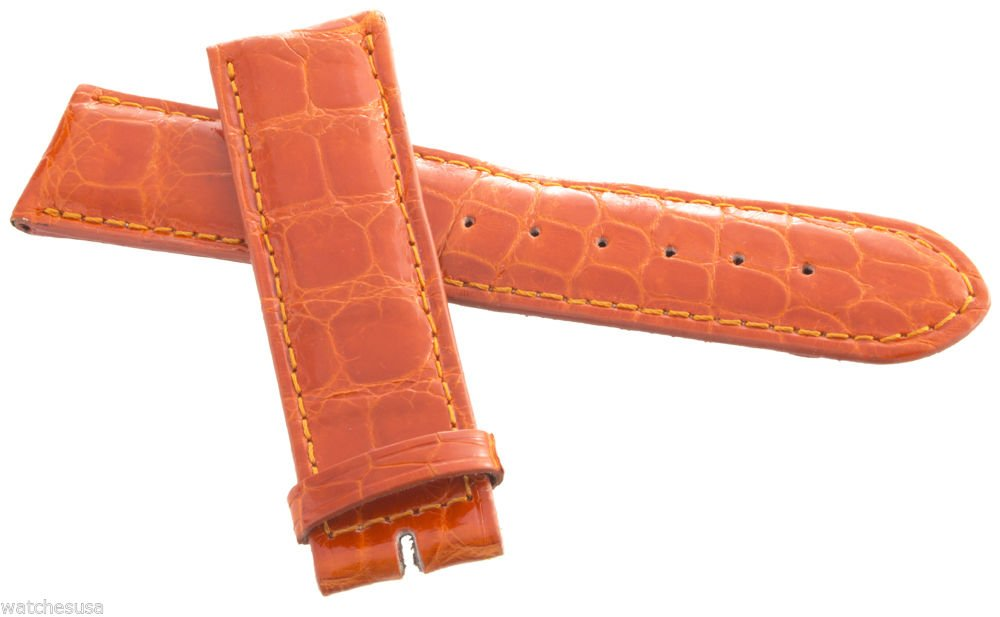 Locman Women's 22mm Orange Alligator Leather Watch Band Strap