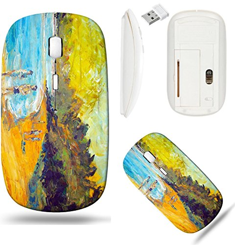 Liili Wireless Mouse White Base Travel 2.4G Wireless Mice with USB Receiver, Click with 1000 DPI for notebook, pc, laptop, computer, mac book original oil painting on canvas for giclee background or c