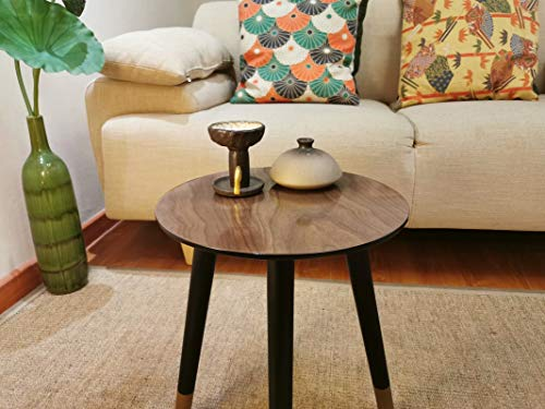 Rasoo Coffee Table, Small End Tables for Living Room,Vintage Style TV Table, Unregular Sofa Table, Office Table, Elegant Functional Table,Couch Table,Walnut Color(L13.38W13.38H15.7Inches)