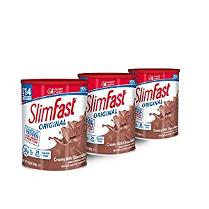 SlimFast – Original Meal Replacement Shake Mix Powder – Weight Loss Shake – 10g of Protein – 24 Vitamins and Minerals Per Serving – Great Taste – 12.83 oz. – Pack of 3 -  Creamy Milk Chocolate