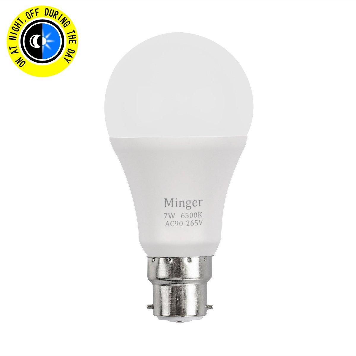 dawn to dusk light. Sensor Light Bulb MINGER 600lm 7W B22 Bayonet Smart Automatic Dusk To Dawn LED Bulbs With L