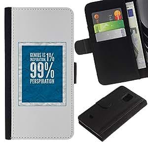 KingStore / Leather Etui en cuir / Samsung Galaxy S5 Mini, SM-G800 / 99 Rich justice sociale Bleu