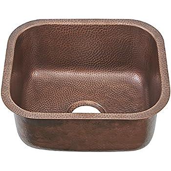 Sinkology SP503-18AC Transitional Sisley Pro Undermount Handmade Copper Sink 18.5 In. Bar Prep Sink In Antique Copper