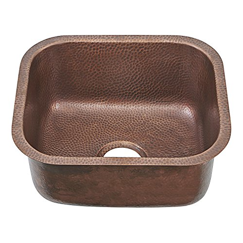 - Sinkology SP503-18AC Transitional Sisley Pro Undermount Handmade Copper Sink 18.5 In. Bar Prep Sink In Antique Copper