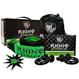 Rhino USA COMBO D Ring Shackles & 30' Tow Strap (41,850lb Break Strength) - Shackle For Vehicle Recovery, Hauling, Stump Removal & Much More - Best Offroad Towing Accessory for Jeeps & Trucks!