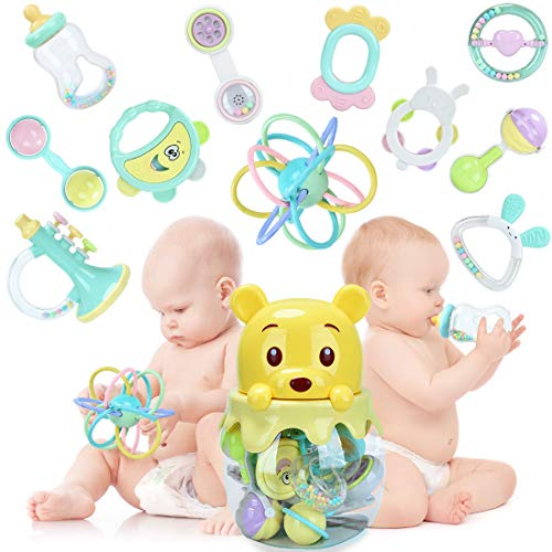 11pcs Baby Rattles Teether, Shaker, Grab Spin Rattles Teething Toys Set BPA-Free Silicone 3 6 9 12 Month Early Education Musical Sounds Infants Newborn Toddlers Play Bear Jar Bottle