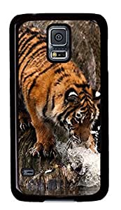 Diy Fashion Case for Samsung Galaxy S5,Black Plastic Case Shell for Samsung Galaxy S5 i9600 with Tiger Playing With Water