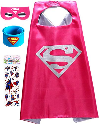 Superhero Dress Up Costume for Kids, Satin Cape and Felt Mask - Birthday Gifts for Boys -