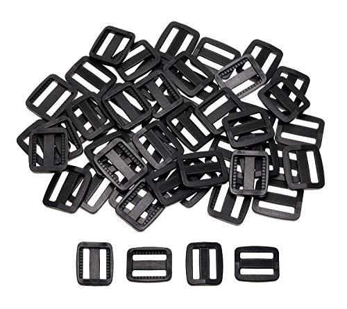 Plastic Tri Glides - Shapenty 50PCS Black Plastic Tri-glide Slides Button Bulk Adjustable Webbing Triglides Slider Buckle for Belt Backpack and Bags (Black, 0.75 Inch)