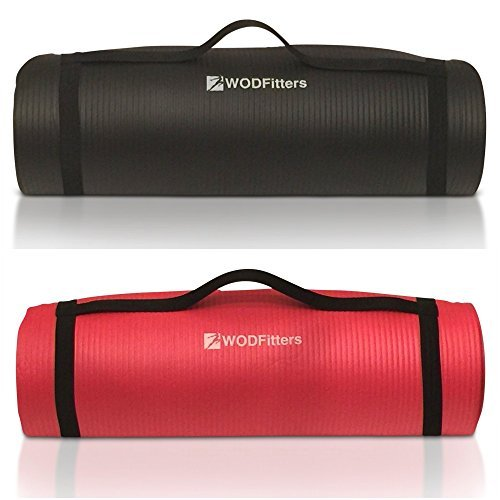 WODFitters Workout Mat for Exercise, Yoga, Pilates and Stretching – ½ '' Thick For Maximum Joint Protection & Comfort – Slip Resistant, Lightweight – Carrying Strap – Bonus Carrying Bag
