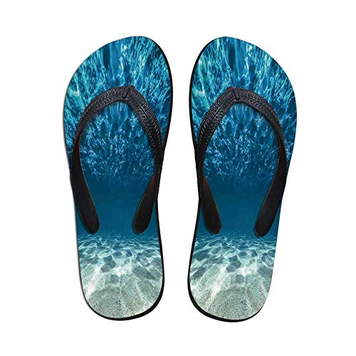 Ocean Decor Modern Flip Flops,Bright Gravelly Bottom and Wavy Surface Tropical Seascape Abyss Underwater Sunny Day for Party & House & Other Events,US Size 8