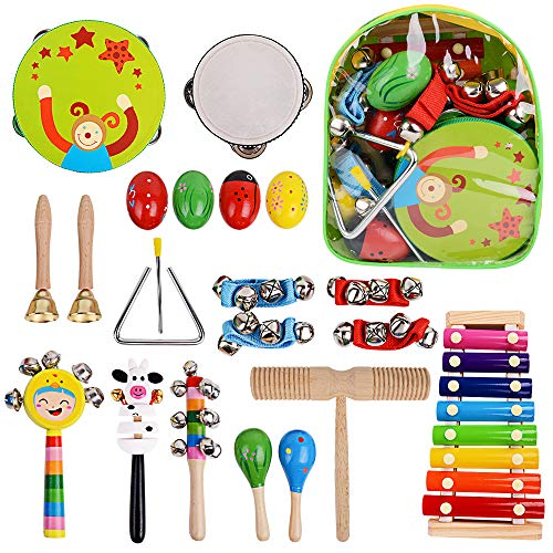- Richday 20 pcs Music Rhythm Percussion Set for Children Kid Toy Tambourine Xylophone, Storage Backpack Included
