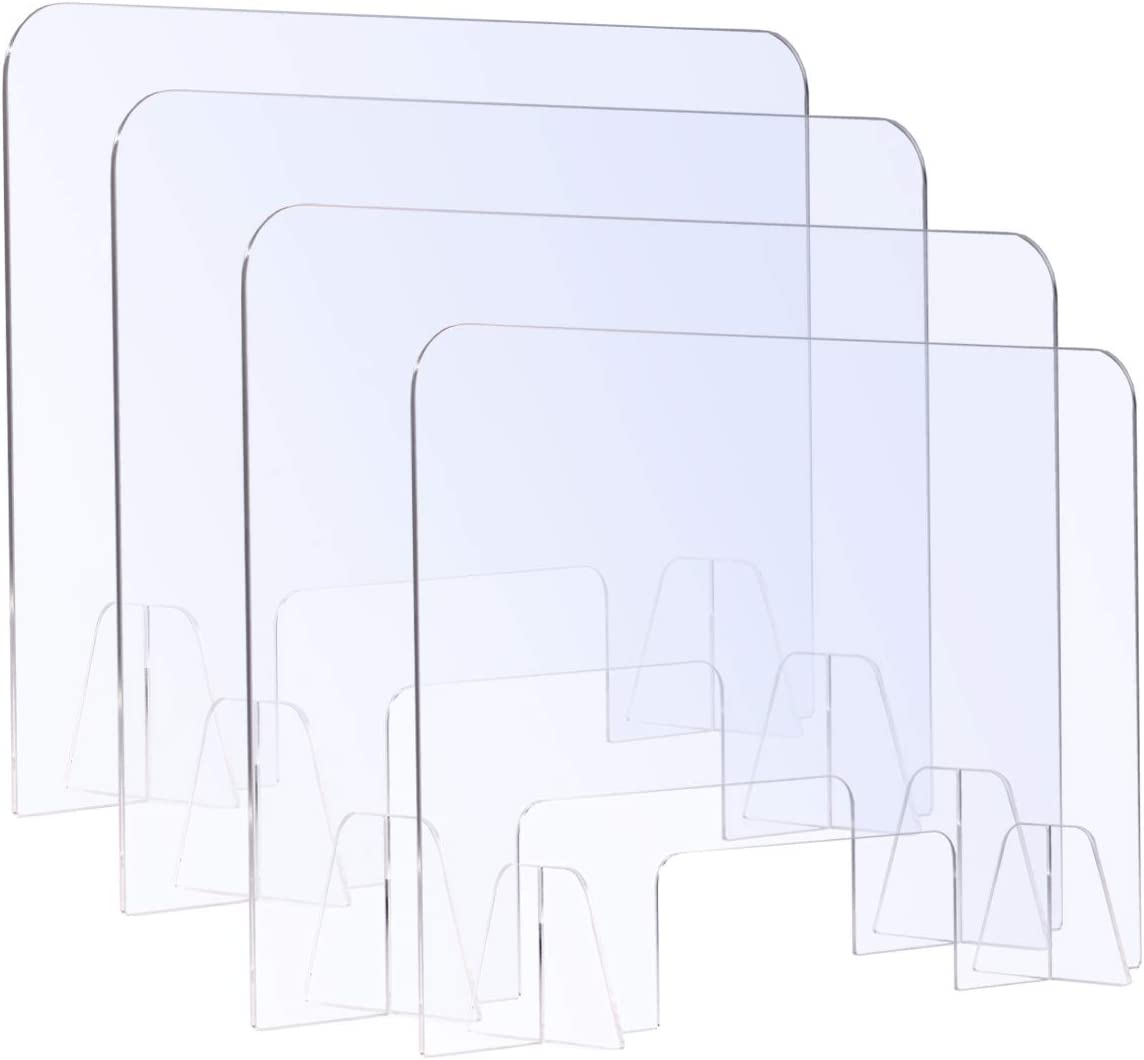 """(4 Packs) Sumerflos Clear Acrylic Sneeze Guard, 31"""" W x 24"""" H Protective Plexiglass Shield Barrier with Transaction Window for Counter, Cashier, Worker, Shop, Office, Bank"""