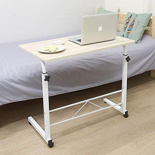 Henf Height Adjustable Sofa Side Table with Wheels,Rolling Coffee Snack Table,Portable Laptop Computer Desk TV Tray Mobile Sofa Chair Side End Table for Living Room Bedroom,Wood