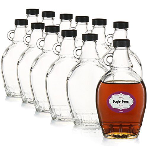 Case of 12-8 Ounce Empty Clear Glass Maple Syrup Bottles - with Air-tight Lids - Great for Syrups, Essential Oils and More - Elegant Design