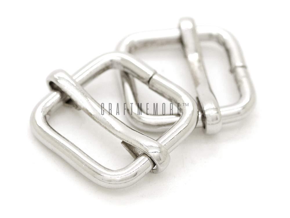 CRAFTMEmore Movable Bar Slide Strap Adjuster Rectangle Strap Keeper Triglide Belt Keeper Purse Making 5/8'' 3/4'' 1'' (5/8'' x 100 Pack, Silver)