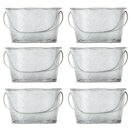 Hosley Set of 6 Mini Oval Tub Galvanized Planter - 3.8