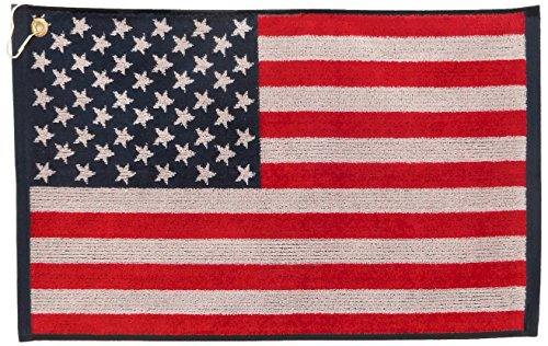 JP Lann Golf USA Flag Golf Towel - Jacquard Style, Red/White/Blue