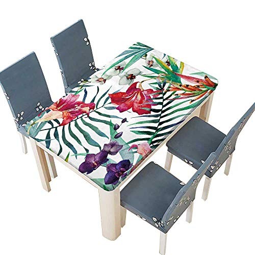 PINAFORE Natural Tablecloth Watercolor,Tropical,Pattern,Wallpaper,Background,Birds of Paradise,Orchids Spillproof Fabric Tablecloth W49 x L88.5 INCH (Elastic Edge)