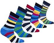 Socks n Socks-Boy's 5-pair Fun Cool Cotton Colorful Dress Crew Socks Gift