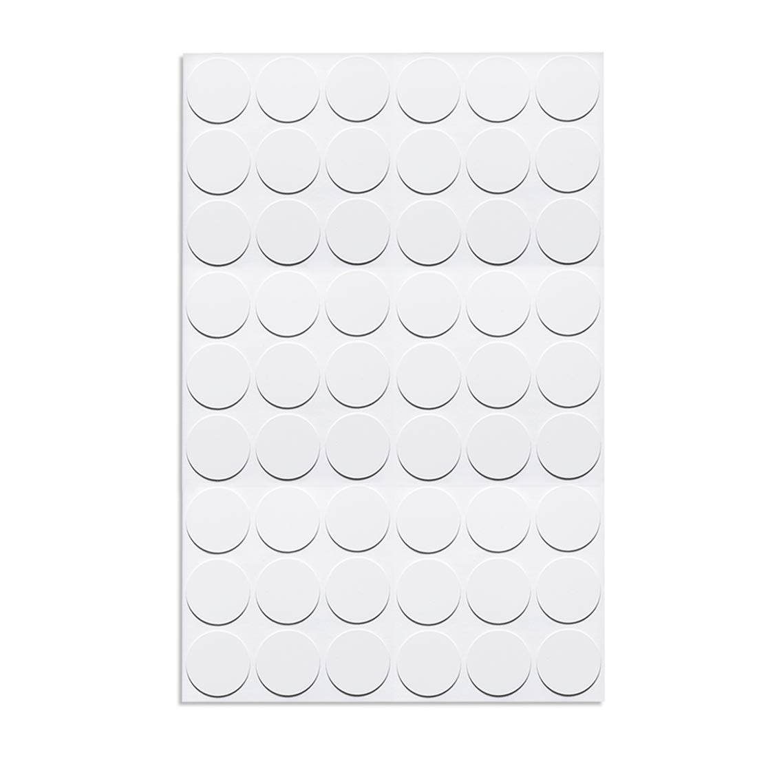 uxcell Screw Hole Covers Stickers Textured Plastic Self Adhesive Stickers for Wood Furniture Cabinet Shelve Plate 21mm Dia 54pcs in 1Sheet White
