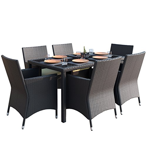 Sonax Z-506-TPP Park Terrace Black Weave 7-Piece Patio Dining Set price