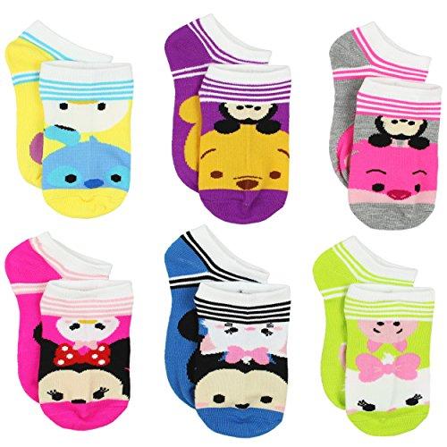 Tsum Tsum Girls Womens 6 pack Socks (6-8 Girls (Shoe: 10-4), Tsum Tsum Stripes Multi)