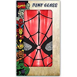Silver Buffalo MC70031PG Marvel Spiderman Eyes Boxed Single Pint Glitter Glass, 16 oz., Red