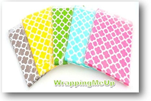 """100 -5x7"""" MOD Designed Treat Bags, Wedding, Party-favor, Food Safe, Candy Bags"""