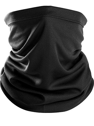 Chuangdi Unisex Thin Neck Gaiter Balaclava Face Mask Sun Protective Neck Gaiter Seamless Bandana Headwear for Prevent Dust and Sun (Black, 1 Piece) ()