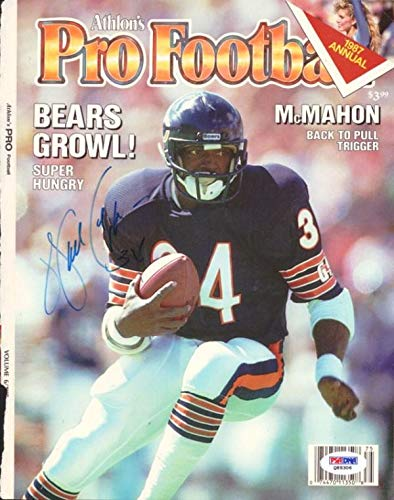 Walter Payton Autographed Pro Football Magazine Cover Chicago Bears #Q89306 PSA/DNA Certified Autographed NFL Magazines