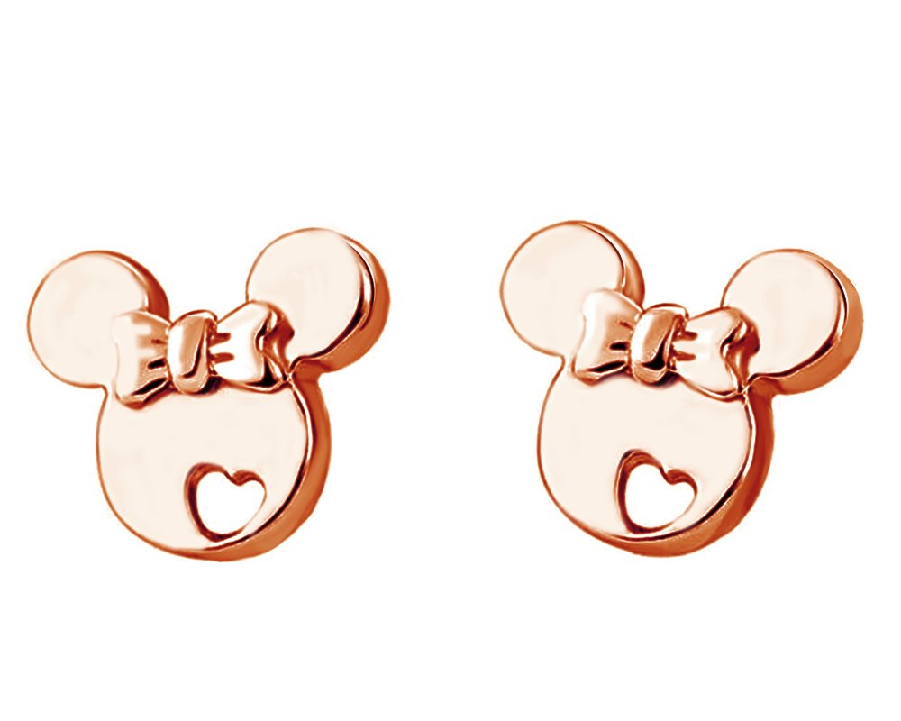 14K Rose Gold Over Sterling Silver Mickey Mouse Bow Heart Cut-Out Stud Earrings