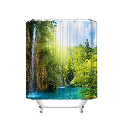 Shower Blue Flower Giraffe (Mint Blue Lake Water Waterfall Green Forest Mountain Ecological Landscape Vertical Stripe Fabric Shower Curtain, Waterproof Polyester Bathroom Curtain With 12 Hooks, Mildew Resistant,48 X 72 Inch)