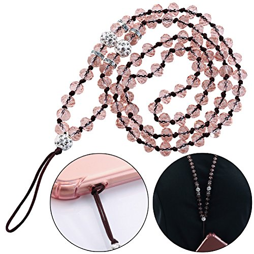 (Cell Phone Crystal Lanyard Strap,ZXK CO Fashion Phone Crystal Chain Hand Wrist Lanyard Strap String for iPhone 7/8/7plus/8plus Camera Purse MP3 MP4 iPod PSP Keychain Length 45CM,Light pink )