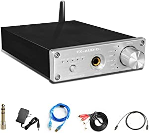 FX AUDIO Wireless Bluetooth 5.0 DAC Converter&Headphone Amplifier-192kHz HiFi Stereo Optical/PC-USB/Coaxial/BT to RCA 6.35mm Headphone Digital to Analog Converter for Home Audio with Volume Control